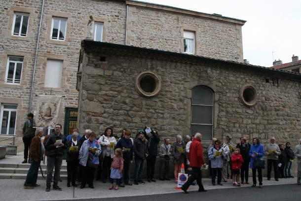 pelerins fin procession