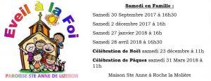 calendrier 2017 2018 eveil à la foi paroisse ste anne de lizeron
