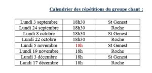 CHORALE CALENDRIER