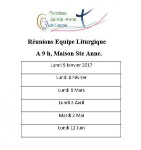 Equipe liturgique semestre 1 -2017