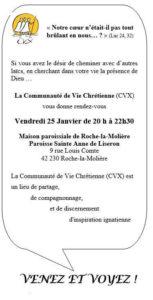 Invit la communauté de Vie Chrétienne