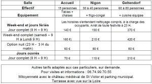 tableau tarifs location des salles de St Victor sur Loire
