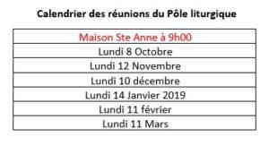 calendriers poles liturgique 2018-2019
