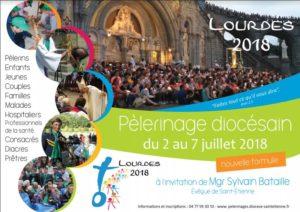 Pélerinage à lourdes en juillet 2018 diocese de st etienne affiche sur site de la paroisse ste anne de lizeron