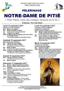 programme du pélerinage Notre dame de Pitié 2017 à St Genest Lerpt 42