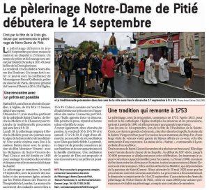 annonce début pélé Notre Dame de Pitiué 2017