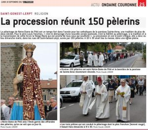 Photo et article de la procession de Notre Dame de Pitié à St genest Lerpt