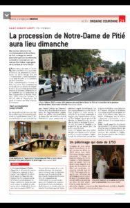 presse sept 2018 pèlerinage Notre damme de Pitié