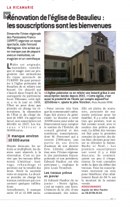 Rénovation Eglise St Joseph de Beaulieu, souscription, paroisse ste anne de lizeron 42 loire