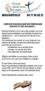 SERVICES évangéliques des personnes isolées et des malades paroisse ste anne de lizeron 42 loire