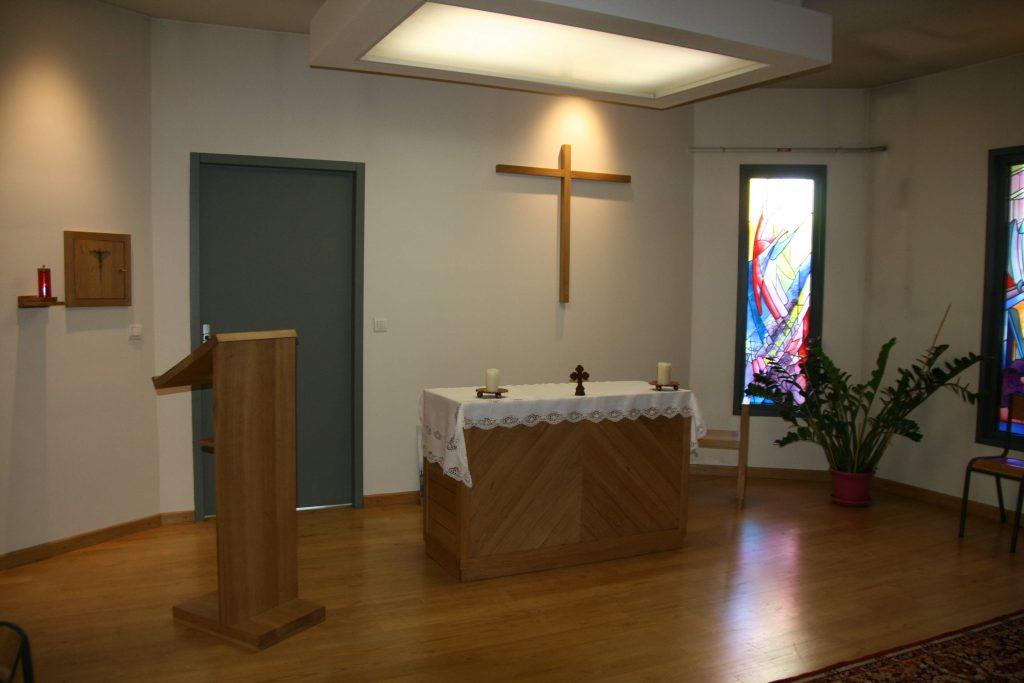 autel et ambon de l'intérieur de l'oratoire de la maison sainte Anne